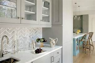 Tiled Kitchen Backsplash white marble countertops gray chevron tiled backsplash