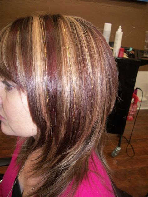 gold lowlights on hair brown hair with blonde and red highlights highlights