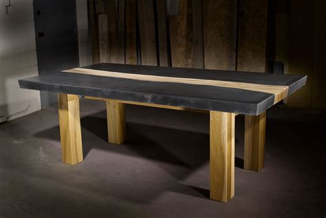 concrete table with wood inlay