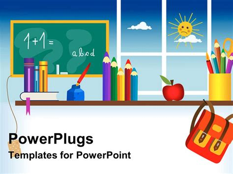 powerpoint template a representation of a classroom with