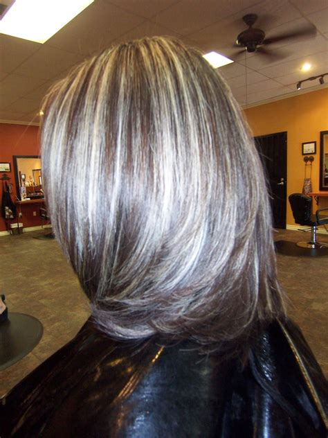 low lights with silver grey hair gray highlights in dark brown hair or dark brown