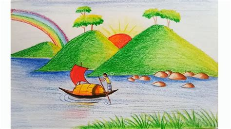 drawing color nature drawing color easy for how to draw scenery of
