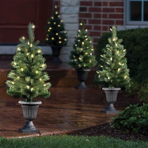 the cordless prelit pathway trees hammacher schlemmer