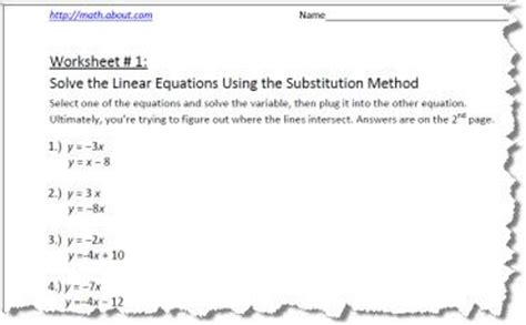 Systems Of Equations Substitution Method Worksheet by Numeral Worksheets With Answers