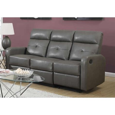 Charcoal Grey Leather Sofa monarch bonded leather sofa in charcoal grey 522590
