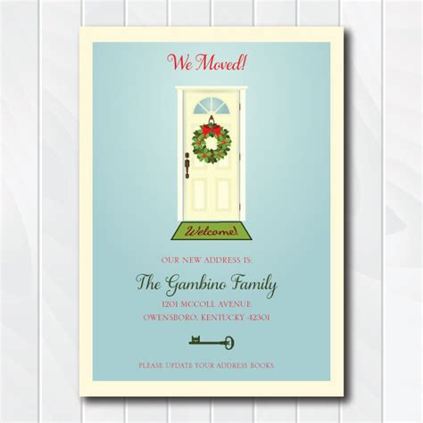 printable moving postcards wreath moving announcement we ve moved christmas card
