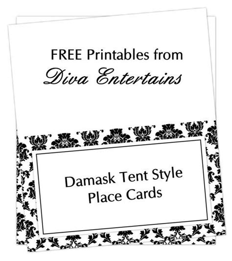 free damask tent cards yay lets have a party themes