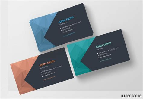 business card template adobe stock 3 modern polygonal business card layouts buy this stock