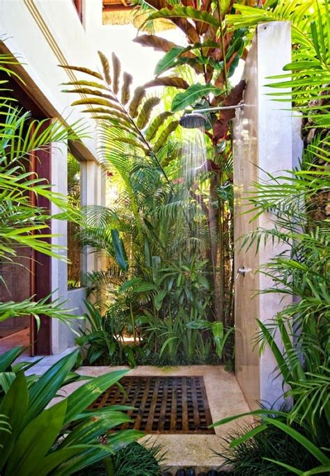 tropical chic design outdoor shower la maison outdoors