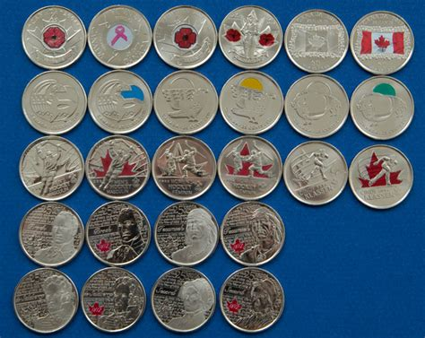 colored quarters set of canadian colored circulation quarters for sale