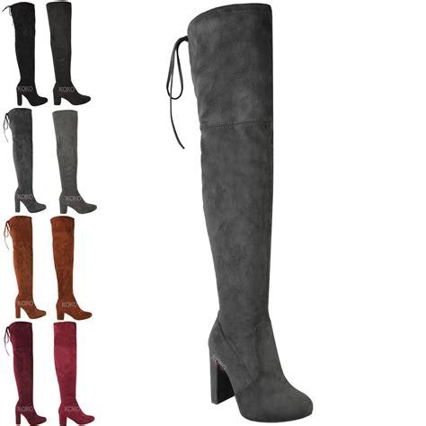 Tcos Overknee mujer se 241 oras muslo botas altas sobre la rodilla taco bloque medio el 225 stico tama 241 o ebay