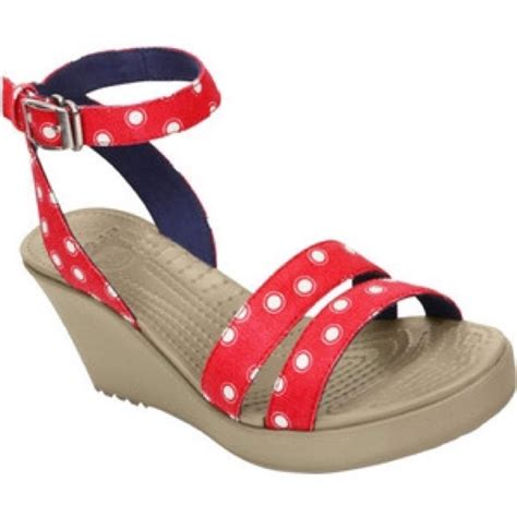Crocs Leigh Graphic Wedges Rk21 by Crocs Crocs Leigh Polka Dot Graphic Sandal Wedge