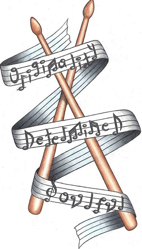 sheet music tattoo designs drumstick tattoos and ink sheet