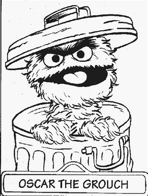 Oscar Free Printable Sesame Street Coloring Pages Oscar The Grouch Coloring Page