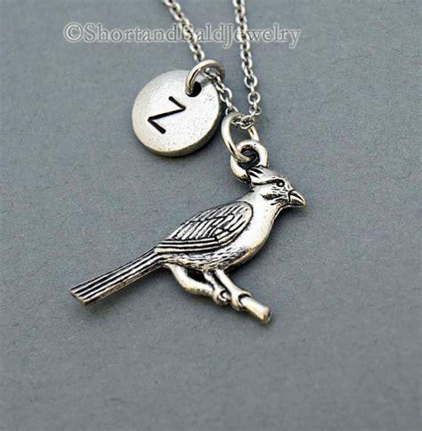 cardinal necklace cardinal charm cardinal bird initial