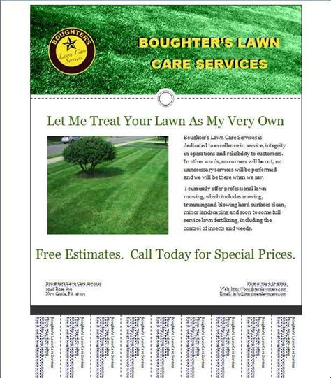 lawn care flyer template lawn care business flyer template home business