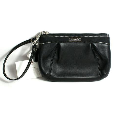 couch wristlet coach black leather pleated medium wristlet 46484 coach