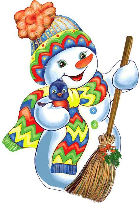 bonhommes neige balai bonnet echarpe colores peinture de