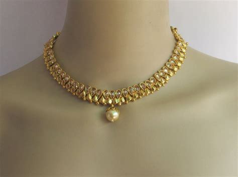 gold south indian jewelry necklace set choker