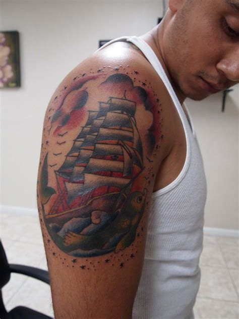 3d tattoo on biceps and triceps art designs
