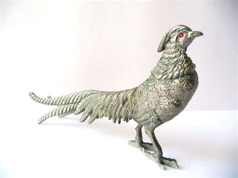 pheasant home decor vintage metal pheasant with red glass eyes brass bird