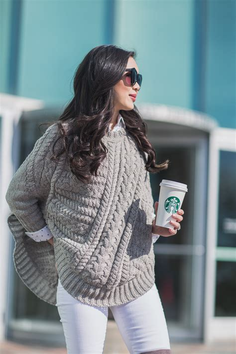 winter grays sweater poncho   knee boots