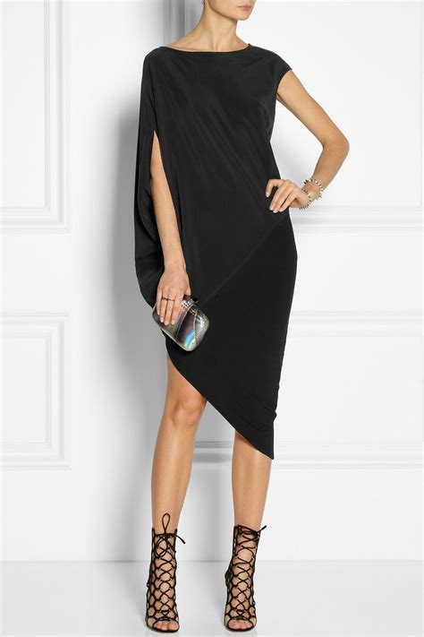 draped dress draped stretch silk crepe and stretch jersey dress