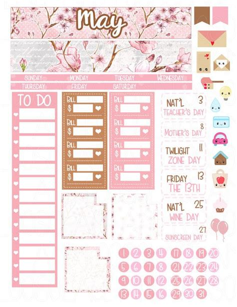 printable planner monthly view printable planner stickers may monthly kit month spread