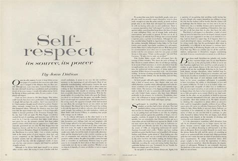 Essay About Respect by On Self Respect Joan Didion S 1961 Essay From The Pages Of Vogue Vogue