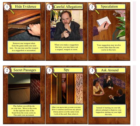 clue suspect card template clue cards