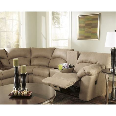 mocha reclining sectional ashley furniture 2 piece fabric reclining sectional