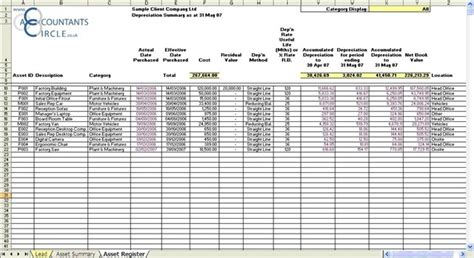 fixed asset register excel template 4 best images of fixed assets register template fixed