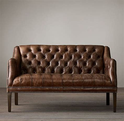 leather settee everett tufted leather settee for the home