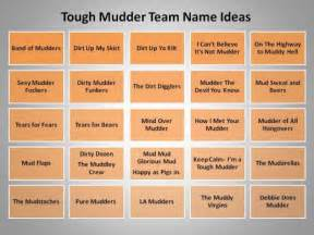 For inspiration try one of these team name ideas for tough mudder