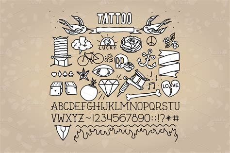 tattoo fonts old school school objects font objects on creative market