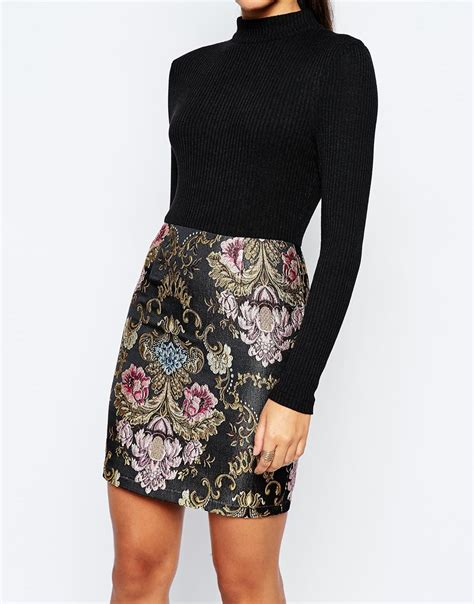 2 In 1 Multi Black lyst missguided 2 in 1 dress with floral jacquard skirt multi in black