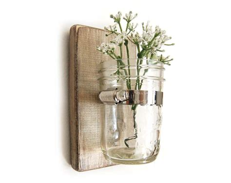 Wall Vase wall sconce wood vase jar metallic taupe by oldnewagain