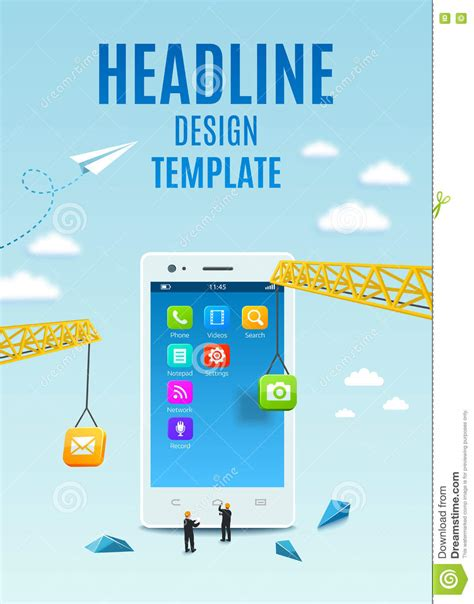 mobile app development template construction white smartphone software and mobile