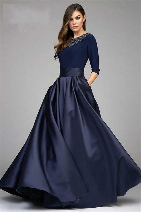 fashion ball gown dresses evening wear navy blue long