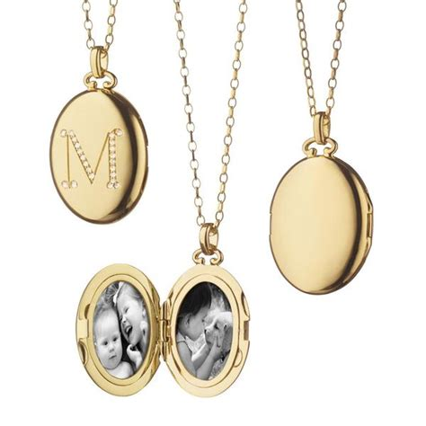 classic oval initial locket pendant in yellow gold