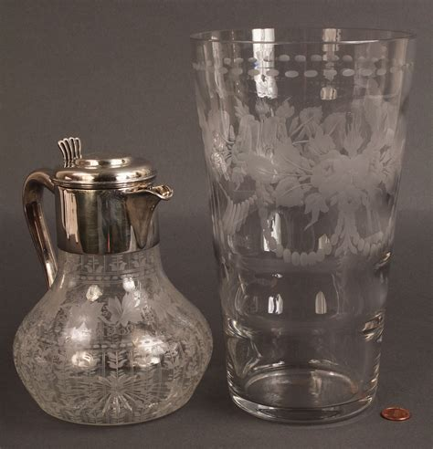 Engraved Glass Vase by Lot 366 Engraved Glass Vase And Pitcher Hawkes