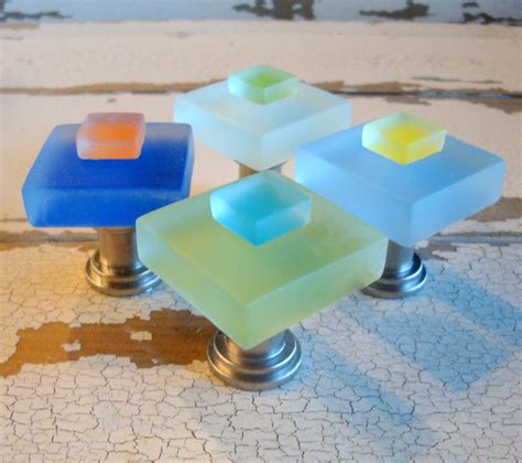 Sea Glass Cabinet Knobs by Small Sea Glass Tile Drawer Pulls Cabinet Knob