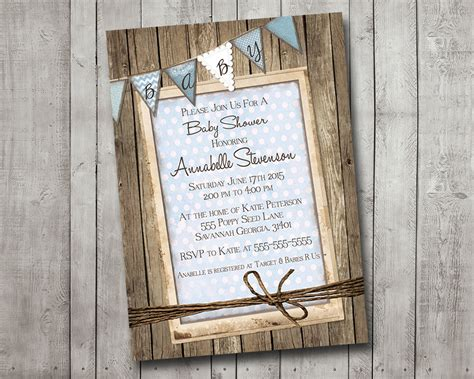 rustic baby boy shower boy baby shower invitation rustic wood blue bunting banner
