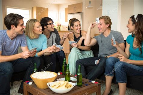 crowd of friends at home in