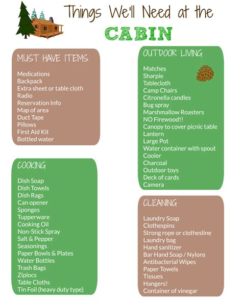 cabin packing list w free printable edventures with kids