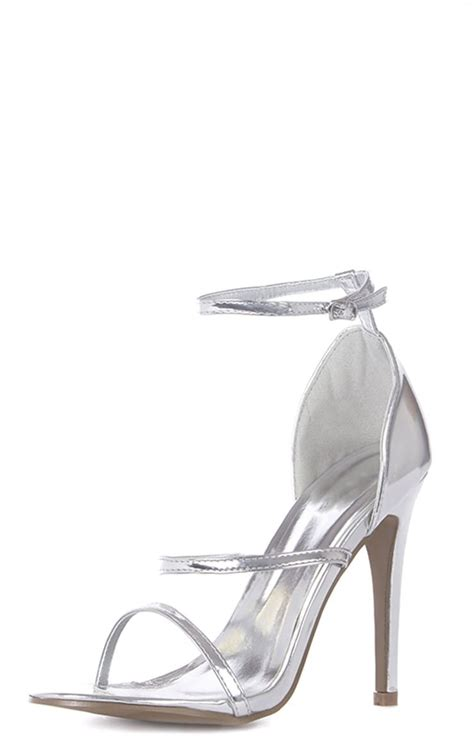 amelia silver strappy heeled sandal shoes
