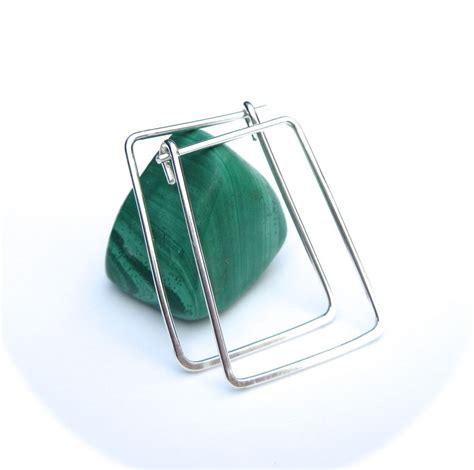 silver rectangle hoop earrings geometric hoops