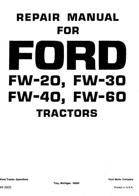 ford fw fw fw fw tractor service manual se