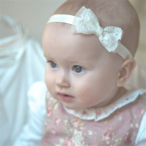 crochet baby headband with lace bow and by allbabygirls silk lace bow flower christening headband by