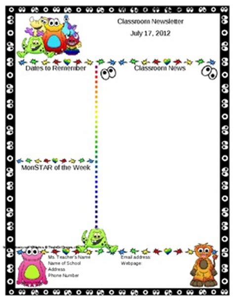 Monster Themed Classroom Newsletter Template Editable By Mrs Magee Free Classroom Newsletter Templates